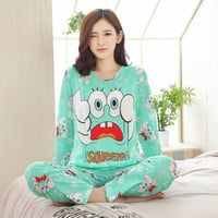 New Listing 2017 Autumn /Spring Carton Pyjamas Women Girl Pajama Sets Cartoon Sleepwear Pajamas for women Long-Sleeved Tracksuit