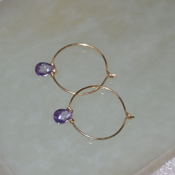 Gold Hoop Earrings,Gold Earrings, Simple Elegant, Small Hoops, Gold Filled, CZ stone, Lilac Cubic Zirconia, Everyday wear