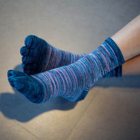 Hot Sale Men's Casual Five Fingers Toe Socks Breathable Retro Color Socks HU