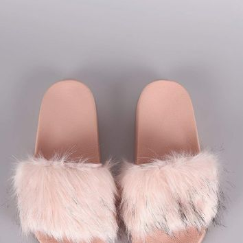 Open Toe Furry Slide Sandal