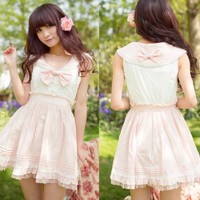 Kawaii Princess Cute Sweet Dolly Wedding Lolita Lace sailor Collar Dress Pink