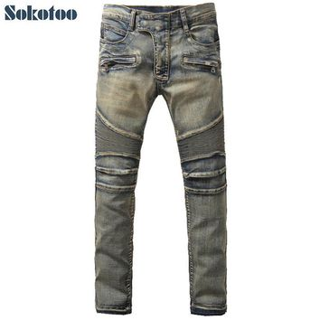 Sokotoo Men's vintage blue scratched bottom biker jeans Casual large size pleated stretch denim pants High quality long trousers