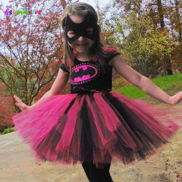 Batman Dark Knight gift Christmas Ksummeree Hot Pink Batman Girls Tutu Dress with Mask Super Hero Batgirl Dress Kids Cosplay Halloween Costume AT_71_6