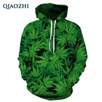 QIAOZHI New Harajuku 3D Hoodie Green Leaves Print Sweatshirt Unisex Hoodies Lovely Tracksuits Fashion Hooded Sweatsuit Tops
