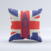 Vintage London England Flag  Ink-Fuzed Decorative Throw Pillow