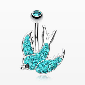 Multi-Gem Sparkle Swallow Multi-Gem Belly Button Ring