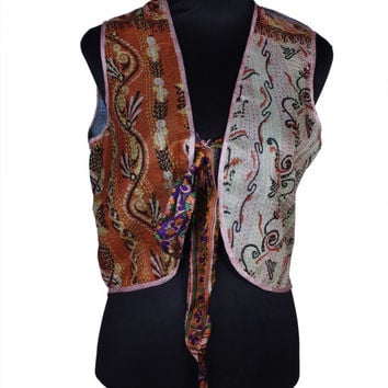 Free Shipping in US - Quilted Pure Silk Kantha Reversible Vest - Free Size