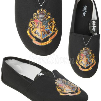 Licensed cool NEW HARRY POTTER HOGWARTS CREST CANVAS SLIP ON FLAT SHOES SLIPPERS LADIES Medium