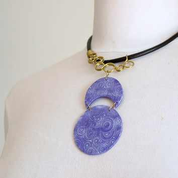 Statement purple patina necklace, Half Moon Necklace, OOAK
