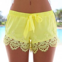 CASTAWAY SHORTS (YLLW) - Crochet trimmed hem yellow shorts