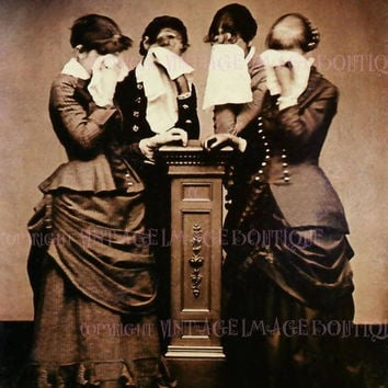 Lovely Antique Victorian Mourning Sepia Photo Portrait Of Women In Mourning Attire 5x7 Greeting Card