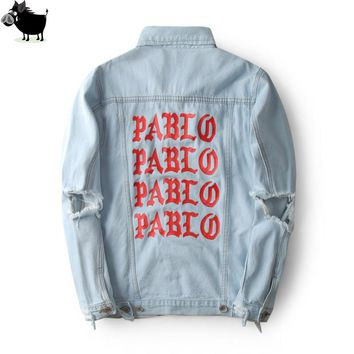 Man Si Tun 2017 New Pablo Kanye West Denim Jackets Men The Life Of Pablo kanye  Denim Jeans Oversized Denim Jacket Coats S-XL