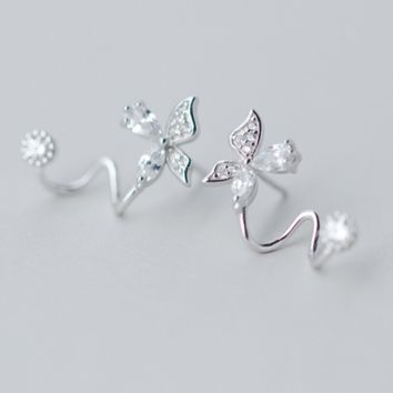 925 Sterling Silver zircon flower earrings,dainty butterfly earrings with gift box