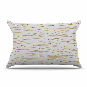 "888 Design ""Golden Stripes Pattern"" Abstract Gold Pillow Sham"