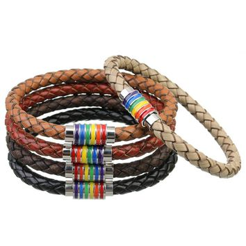 2017 New Black Brown 100% Genuine Braided Leather Bracelet Women Men Stainless Steel LGBT Gay Pride Rainbow Magnetic Bracelets
