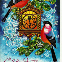 Happy New Year, Bullfinches, Birds, Vintage Russian Postcard, Christmas, print 1982