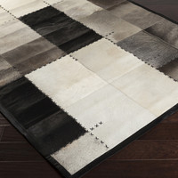 Texas Area Rug | Black Hides and Leather Rugs Hand Crafted | Style TEX8002