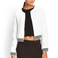 Collarless Quilted Bomber Jacket