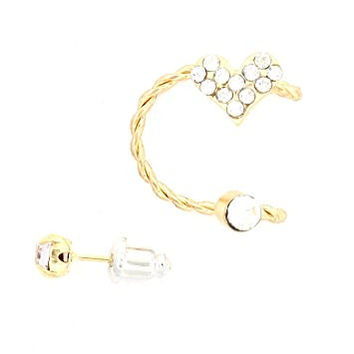 Crystal Heart Ear Cuff Stud Earring Gold Tone CB36 Fashion Jewelry