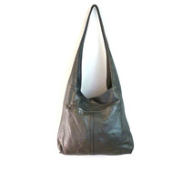 Black Leather Hobo Handbag East West Vintage Leather Purse 1970s Hobo Bag Black Leather Purse