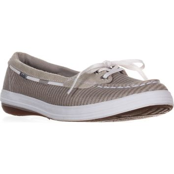 Keds Glimmer Lace Up Boat Shoes, Silver, 9.5 US / 40.5 EU