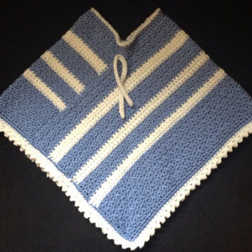Toddler Crochet Blue and White Poncho