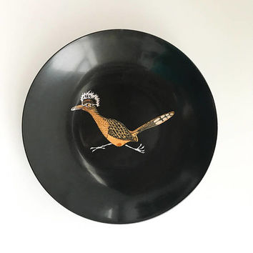 Vintage Couroc of Monterey Roadrunner Bowl Dish with State Bird of New Mexico Mid Century Tray
