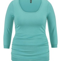 Plus Size - 3/4 Sleeve Cinched Side Sweater