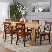 Sambora Farmhouse 7 Piece Dining Set w/ Rich Mahogany Chairs