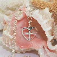 Heart Cross Necklace Sterling Silver Heart Necklace Christian Jewelry Communion Gift