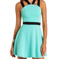Strappy Color Block Skater Dress