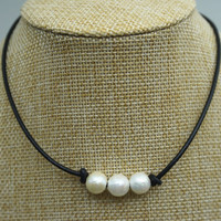 Leather Pearl Choker, Three pearl necklace, Pearl Leather Necklace, White Freshwater pearl, Black Leather Pearl necklace, BROWN,LIGHT BROWN