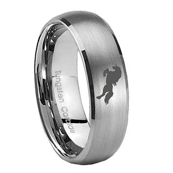 8MM Classic Satin Silver Dome Horse Tungsten Laser Engraved Ring