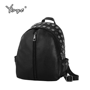 YBYT brand 2017 new preppy style sequined rivet women rucksack simple ladies small black travel bags student school backpacks