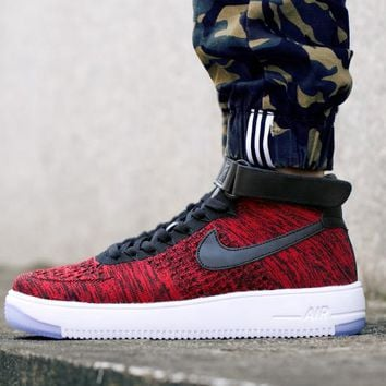 Originals Nike Air Force One 1 Flyknit Mid Red / White / Black Running Sport Casual Shoes '07 817420-602 Sneakers