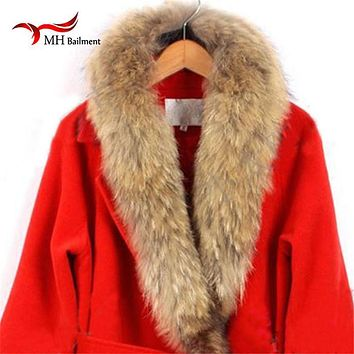 Real fur collar 100% genuine raccoon fur scarf Multiple sizes winter for women hot selling L#27