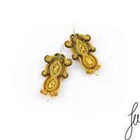 Leopard, soutache earrings, unique wooden, handcrafted jewellery, brown, orange