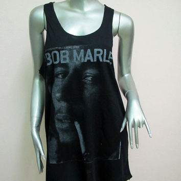 Bob Marley Reggae Ska T-Shirt Women shirt Tank Tops Mini Dress sleeveless silk screen shirt Rock Punk classic backless Black Q14 Size M