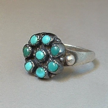 OLD PAWN Vintage Native American Turquoise RING Petit Point Snake Eye Sterling Silver Navajo Signed Size 6.50 c.1930s