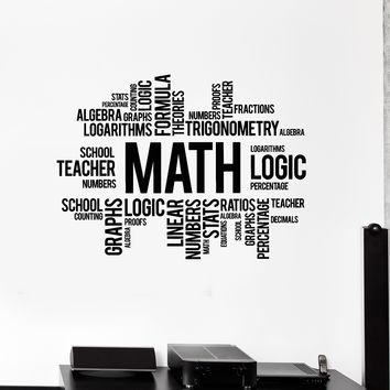 Vinyl Wall Decal Math Words Cloud Art School Decor Science Stickers Mural Unique Gift (ig5137)
