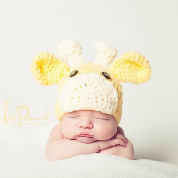 Crochet PATTERN  Baby Giraffe Beanie Crochet Hat by PoshPatterns