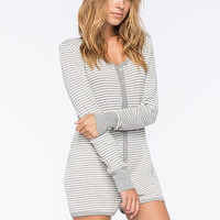 Cosmic Love Striped Womens Short Onesuit Heather Grey  In Sizes