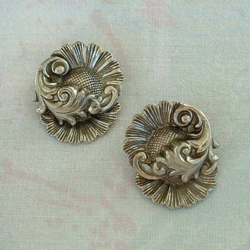 Whiting and Davis Earrings Unsigned Sunflowers Clip On Vintage Jewelry