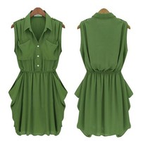 Summers Trendy Army-green Chiffon Dress with Belt