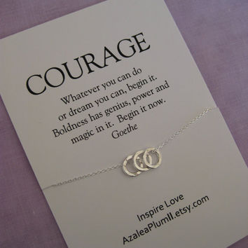 COURAGE. INSPIRATIONAL Jewelry. Best Friend Necklace. Goddaughter. Graduation Gift . Graduation Sister. Retirement. Mantra Necklace