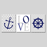 Nursery Print Set Love Nautical Chevron Polka Dots Blue Gray White Navy Anchor Wheel Baby Boy, 8x10 Digital Download Wall Art Decor Print
