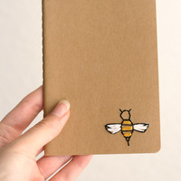 Bee- hand embroidered moleskine pocket notebook