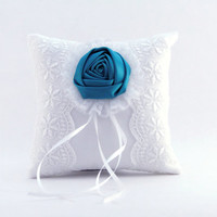 "Ring Bearer Pillow White Sating Ring Pillow Teal and White Wedding Lace Ring Bearer Pillow Vintage Pillow 6"" X 6"" Wedding Flower Accessories"
