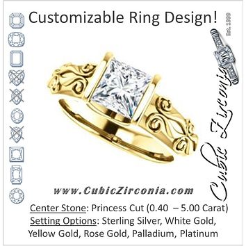 Cubic Zirconia Engagement Ring- The Cora (Customizable Bar-set Princess Cut featuring Organic Carved Band)