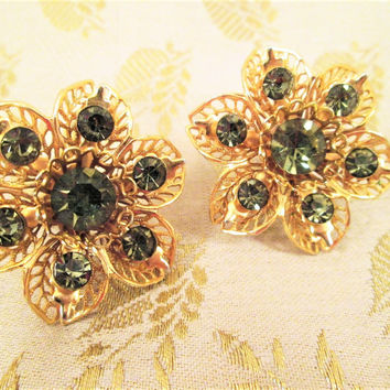 Green Rhinestone Earrings Filigree Screw Back Gold Tone Vintage Jewelry Gift Christmas Birthday
